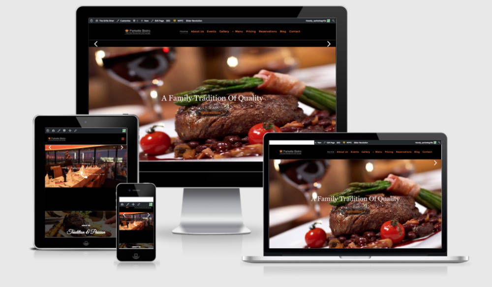 image of restaurant website on desktop mobile device and ipad