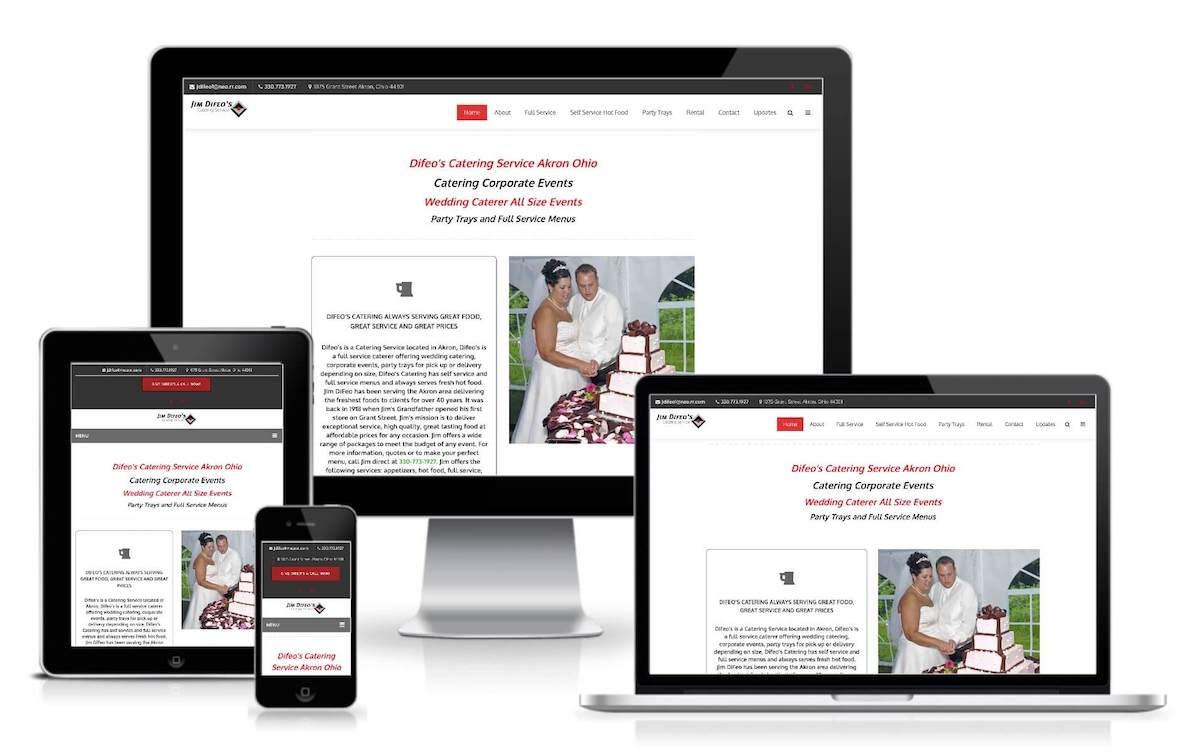 screenshot catering company website