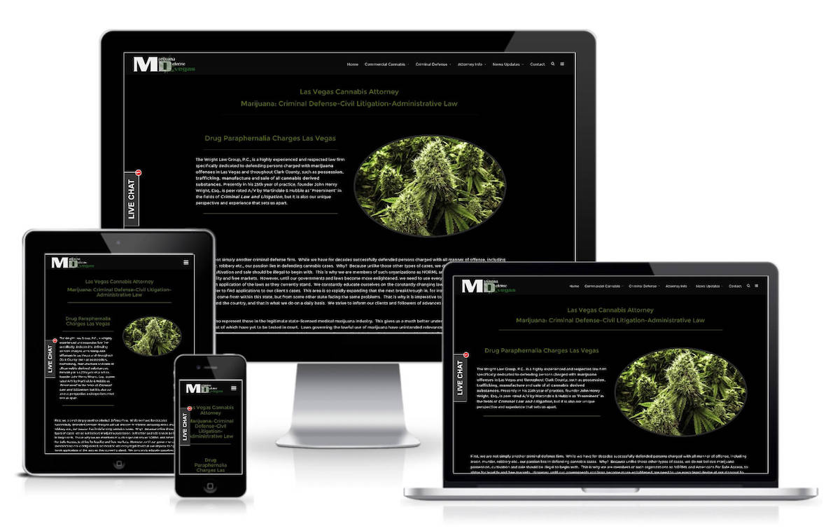 Website screenshot of mmj atttorney