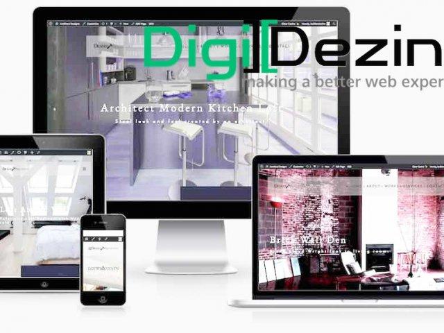 Digi Dezine web designer logo over website screenshot