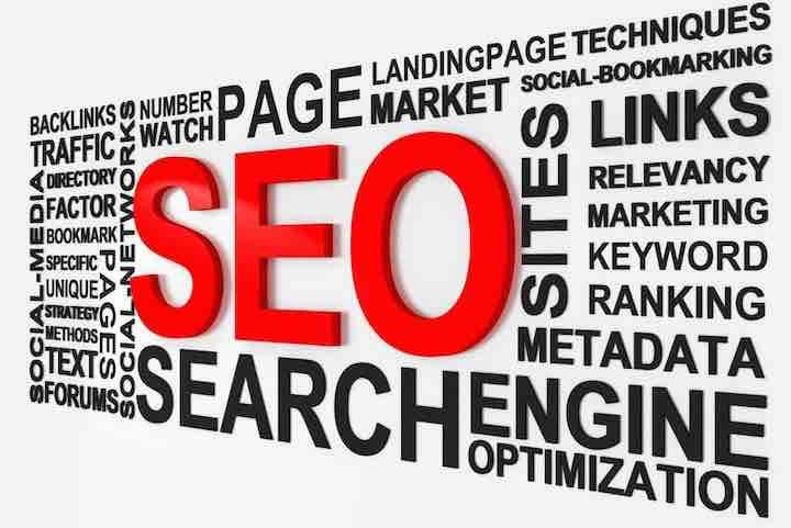 Image of text showing SEO and search engine optimization