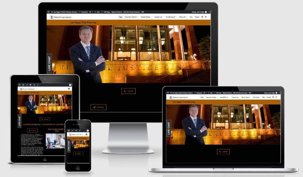 Criminal Defense Attorney Website image of desktop mobile ipad