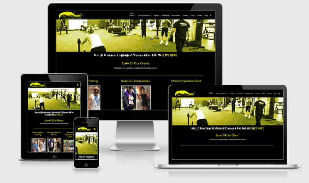 Fitness Website image of desktop mobile ipad