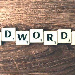 word adwords over wood grain background