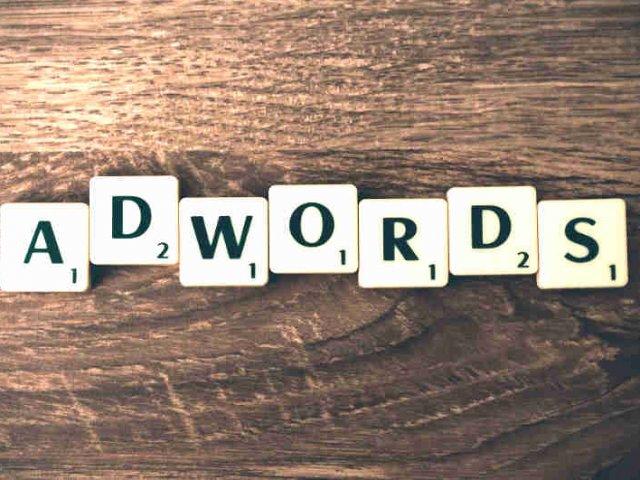word adwords over wood grain background