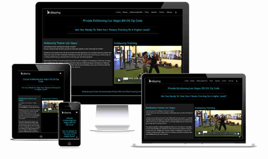 Website screenshot of kickboxing website