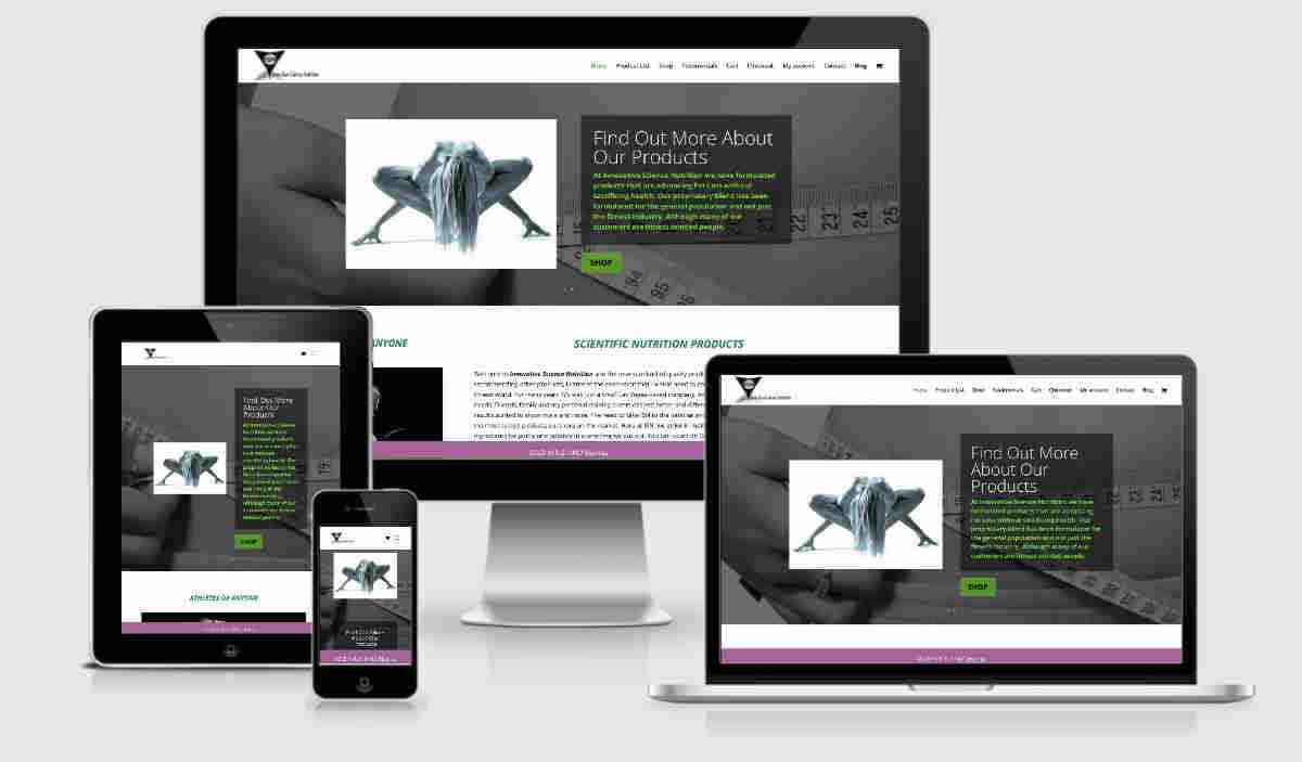 all device display for nutritional supplement website design