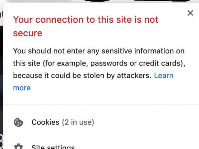 non secure website image from chrome browser